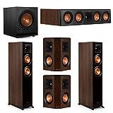 Klipsch 5.1 Walnut System 2 RP-5000F Floorstanding Speakers, 1 Klipsch RP-404C Center Speaker, 2 Klipsch RP-402S Surround Speakers, 1 Klipsch SPL-100 Subwoofer