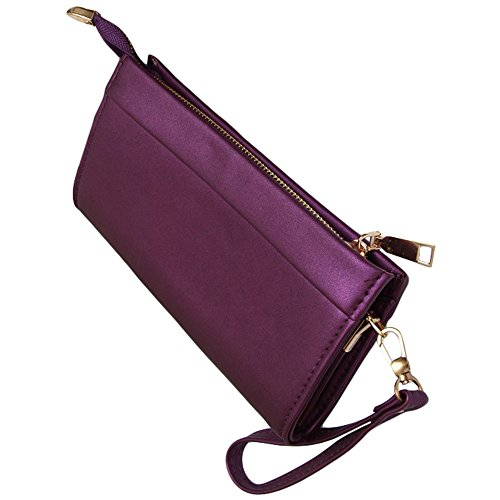 Ladies Classic Elegant Purple Violet Vegan Faux Leather Bag Purse with Adjustable Handstrap Clutch (Purple) by Red Cube