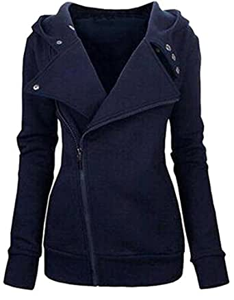 Unko Womens Long Sleeve Zipper Hoodie Athletic Jacket XXL Navy Blue
