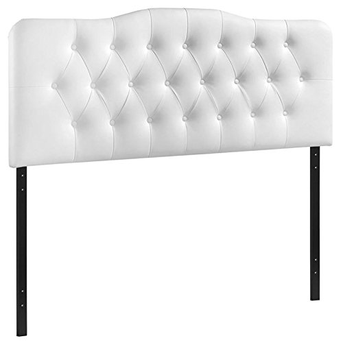Modway Annabel Tufted Button Faux Leather Upholstered King Headboard in White (Headboards King Leather For Beds)