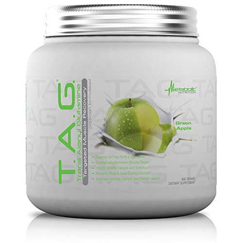 TAG, Trans Alanyl Glutamine, 100% L-Glutamine Peptide Powder, Pre Intra Post Workout Supplement, Green Apple, 400 grams (40 servings) ()