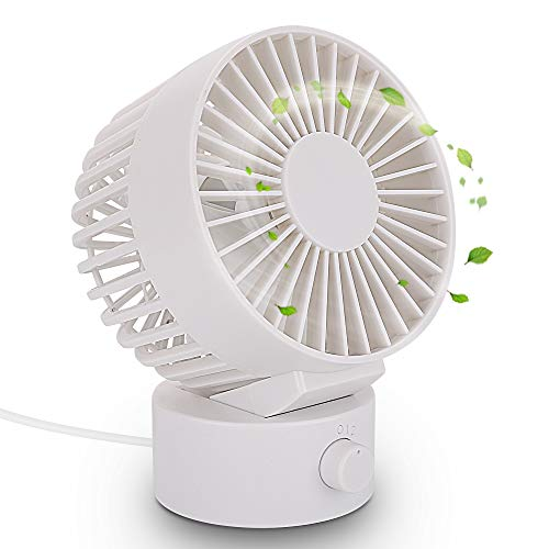 (USB Desk Fan, Flytaker Mini Personal Fan, USB Powered Portable Cooling Fan, Perfect for Office and Home - 4 Inch (White))