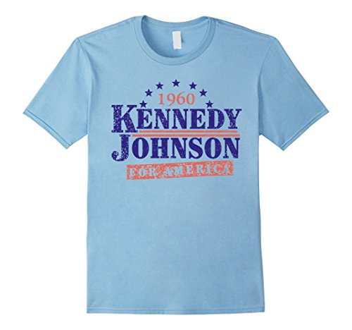 1960's Mens Shirt - Mens Kennedy Johnson 1960 Presidential T-Shirt - JFK Shirt XL Baby Blue