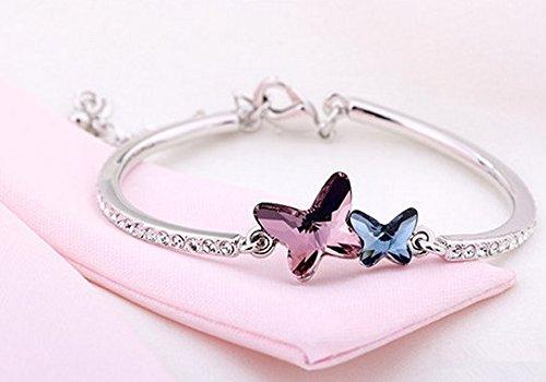Élément de cristal de Swarovski Plaqué or blanc papillon Bracelet pour femme, Girl-bgg165