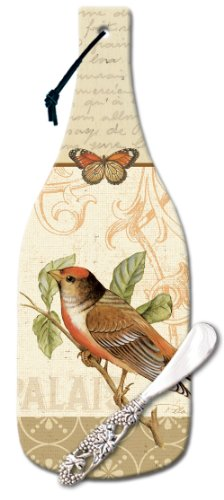 CounterArt Songbirds Wine Bottle Shaped 12-1/2-Inch Glass Cheese Cutting Board with Spreader Knife