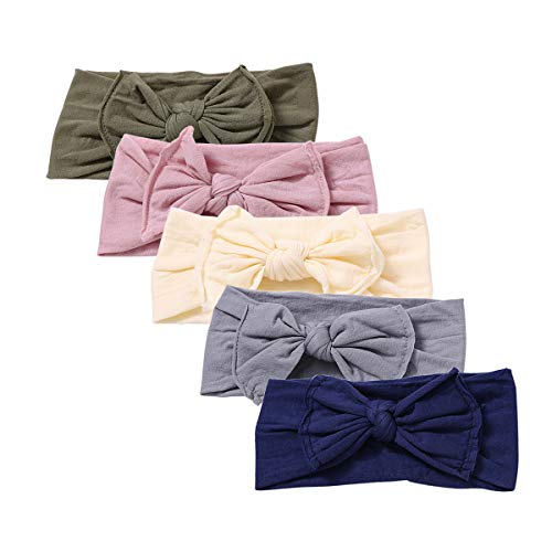 Baby Girl Nylon Headbands Newborn Infant Toddler Hairbands and Bows Child Hair Accessories (ZM02-5pcs)