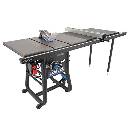 "Delta 36-5152T2 Contractor Table Saw with 52"" Rip Capacity and Cast Extension Wings"
