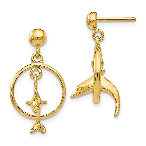 14K Polished 3-D Dolphin Jumping Through Hoop Dangle Earrings Dolphin Through Hoop