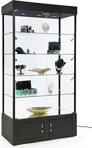 Displays2go, Lighted Full Vision Retail Cabinets, Aluminum, Melamine, Tempered Glass Build – Black Finish (SMPLTW02BK) by Displays2go