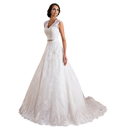 TBB Double V-neck Sleeveless Lace applique And Satin A-line Wedding Dress _White_
