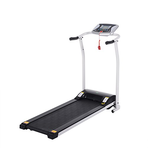 kemanner Mini Fitness Folding Electric Treadmill Exercise Equipment Walking Running Machine Gym Home (White)