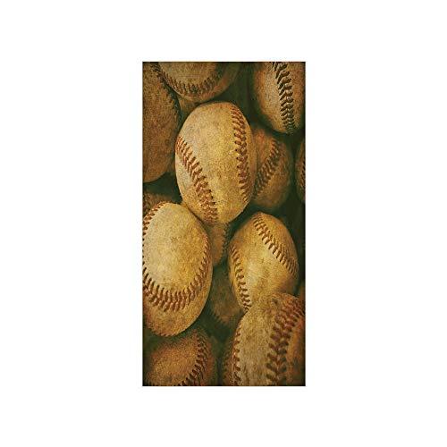 Decorative Privacy Window Film/Vintage Baseball Backgorund American Sports Theme Nostalgic Leather Retro Balls Artwork/No-Glue Self Static Cling for Home Bedroom Bathroom Kitchen Office Decor ()