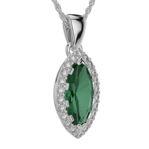 Or blanc/or/Rose/Jaune/Or/Platine forme marquise-Collier Femme-diamant émeraude et agdnc-1068-vsgh