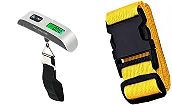 Luggage scale for travel (silver,weighs up to 50kg/110 lb) suitcase weighing scale,with adjustable luggage strap bundle