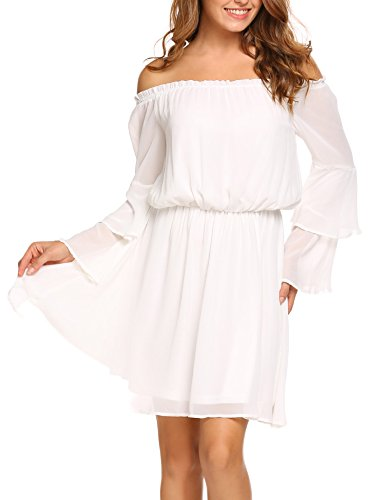 Zeagoo Women's Off Shoulder Layered Flare Sleeve Solid Chiffon A-Line Dress