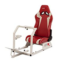 GTR Racing Simulator GTA-WHT-S105LRDWHT GTA Model White Frame with Red/White Real Racing Seat, Driving Simulator Cockpit Gaming Chair with Gear Shifter Mount