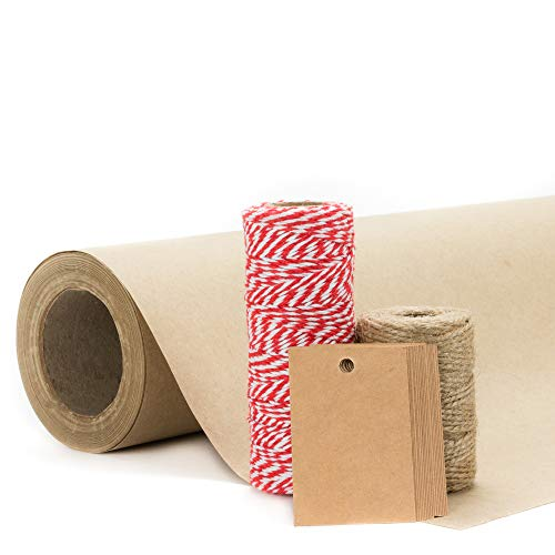 Kraft Paper Roll (Medium) - 15 inches x 75 ft | Includes Jute Twine, Bakers Twine & Kraft Gift Tags | Heavy Duty - Perfect for Christmas Gift Wrapping, Arts & Crafts, Packing & Moving, Table Runner
