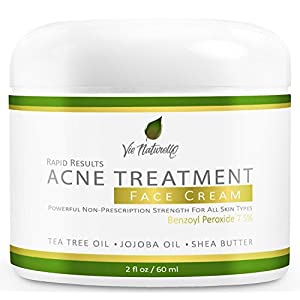 Acne Treatment Cream - Benzoyl Peroxide 7.5% - Topical Anti Acne Medication - Witch Hazel, Tea Tree Leaf, Jojoba Oil, Almond Oil, Shea Butter