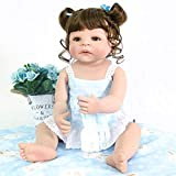 PURSUEBABY Pursue Baby Washable Full Vinyl Body Reborn Toddler Girl Doll Monica, 22 Inch Real Looking Baby Doll with Curly Hair