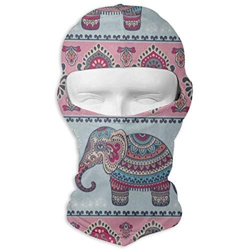 Motorcycle Face Graphic Mask (Balaclava Vintage Graphic Indian Elephant Mandala Full Face Masks Ski Motorcycle Neck Hood)