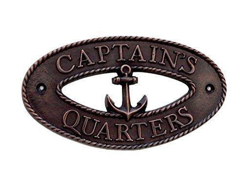 (Hampton Nautical  Captain's Quarters Wall Art Metal Door Sign, 9