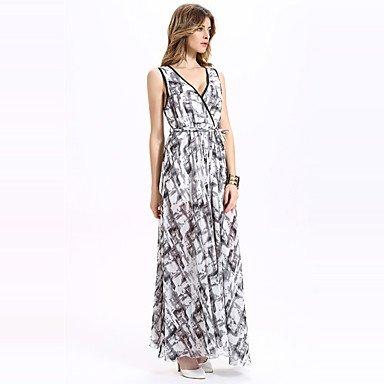PU&PU Robe Aux femmes Swing Sexy / Bohème,Imprimé Col en V Maxi Polyester , light gray , xl