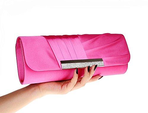Satin Purse Diamante Pink Hot Prom Clutch Pleated Bag Bridal Evening Handbag rrwSgA8qx