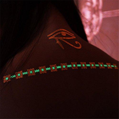 Premium Metallic tattoos Tattoos Glow In The Dark Metallic Temporary Tattoo Shimmer Gold, green Designs. Flash Tattoos Temporary Fake Jewelry Tattoos 6 Sheets by Light up in the Dark (Image #6)