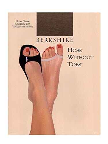 Berkshire Women's Hose Without Toes Ultra Sheer Control Top Pantyhose, French Coffee, 2