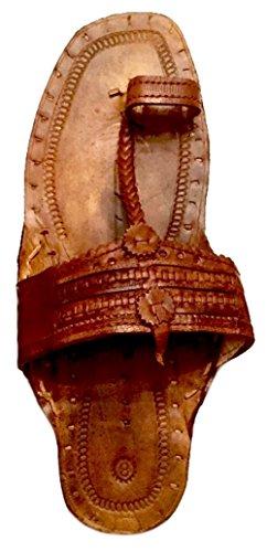 - Beadscape ~ A Bit of Deja Vu Hippie Indian Water Buffalo Jesus Sandals 100% Leather (Light Brown - Men's Size 7/Women's Size 9)