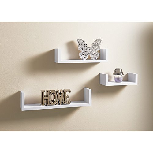AJ Set Of 3 U Shaped Wall Mountable Wooden Floating Shelve Shelf White Storage