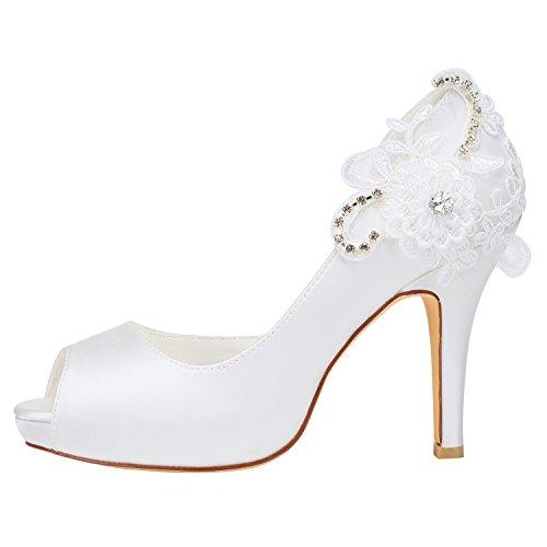 Alto di Bianca Peep Emily da EU36 Seta Scarpe Bridal Tacco Pumps Toe Sposa on Slip Detail qqApX4T