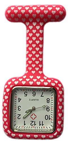 Silicone Watch Nurse Doctor Paramedic Tunic Brooch Fob Watch Medical (Square Red Hearts)