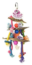 Pink Parrot 3-Tier with Wood and Rope, Medium