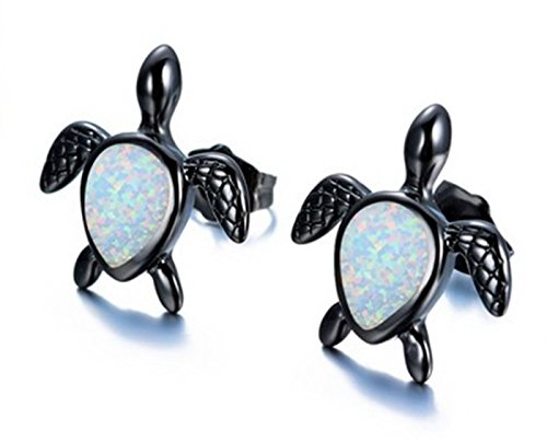 Fortonatori Created White Opal Turtle Earrings Stud Black Gold Filled size 0.35'' by Fortonatori
