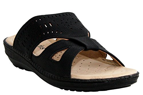 Womens Ladies Slip On Backless Low Wedge Heel Girls Strap Beach Summer Flat Open Toe Mules Sandals Shoes UK Sizes 3-8 Black 5y0I9L9GC