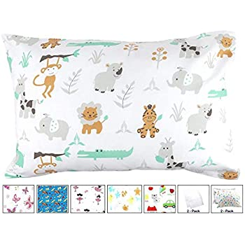BB MY BEST BUDDY Toddler Kids Pillowcases for Boys and Girls - 100% Cotton - New Safari and Zoo Animals - 13 x 18 shrinks to fit -Envelope Style Closure - Designed in USA - Machine Washable Soft