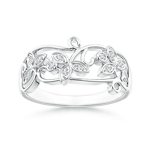 Vintage Style Diamond Flower Scroll Ring in 14K White Gold (Color: G, Clarity: VS2) by Angara.com (Image #1)