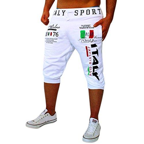 Chen Men's Casual Harem Training Jogger Sports Pants Shorts Running Sweatpants (US L(AsiaXXL), White)