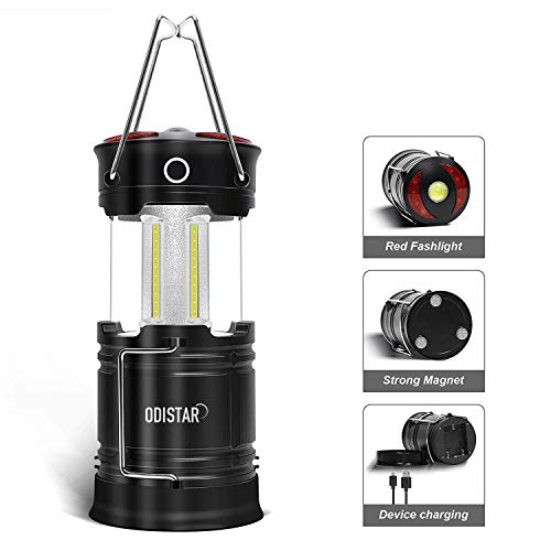 ODISTAR Rechargeable LED Camping Lantern,4 Modes Portable Magnetic Flashlight Lantern,High Lumen Waterproof COB Tent Light for Emergency Camping Outdoor Hurricane Power Outage