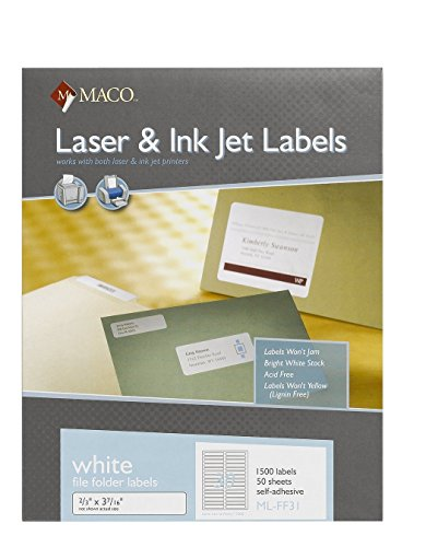 MACO Laser Ink Jet White File Folder Labels - 2 3 x 3-7 16 Inches - 30 Per Sheet - 1500 Per Box (ML-FF31)