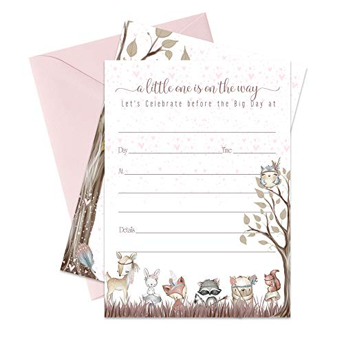 Best Friends Invitation (Woodland Friends Baby Shower Invitations - Set of 15 with Pink Envelopes)