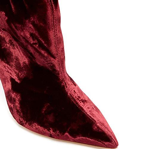 Zeppe Zeppe Boots MWOOOK Sexy Stivaletti 34 Wine Wine Elegante 34 Tacco Alto 400 Sexy Plateau Appuntite Velluto Stiletto 45 xqX7qTw4pz