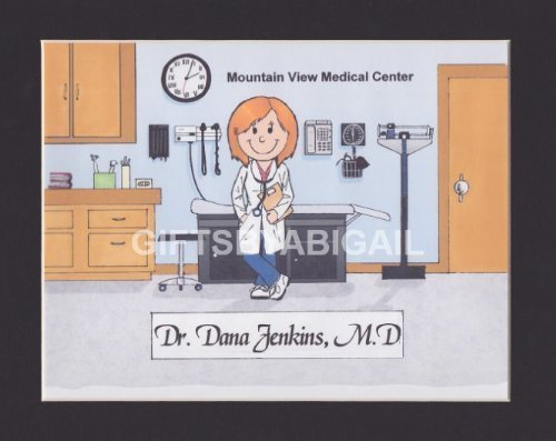 Pediatrician Gift Personalized Custom Cartoon Print 8x10, 9x12 Magnet or Keychain by giftsbyabigail