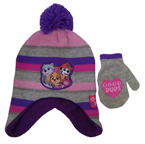 Nickelodeon Toddler Girls Paw Patrol knit Winter Scandinavian Hat with Pompom and Matching mitten set [4014]