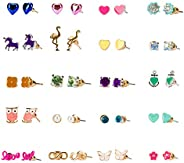 Hypoallergenic Earrings for Girls, 20 Pairs Color Cute Animals Earrings Set for Kids