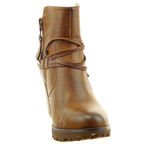 Sopily - damen Mode Schuhe Stiefeletten Low boots Schlangenhaut Multi-Zaum Seil - Braun
