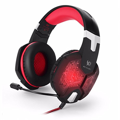 Price comparison product image Becoler 3.5mm Gaming Bass Stereo Headphones Headband Earphones with Mic Microphone Noise Isolation Over-ear Colorful Breathing LED Light Professional Headset for Laptop Computer(Red)