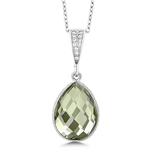 (Gem Stone King 6.50 Ct Green Amethyst 16x12mm Pear Shape Silver Pendant with 18inches Chain)