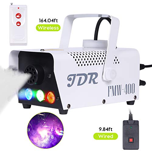 JDR Fog Machine with Controllable lights, DJ LED Smoke Machine(Red,Green,Blue) with Wireless and Wired Remote Control for Holidays Parties Weddings Christmas Halloween, with Fuse ()
